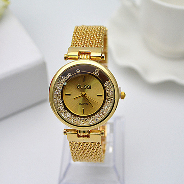 CUSSI Top Brand Luxury Gold Wrist Watch Diamond Rhinestone Bracelet Watch Women