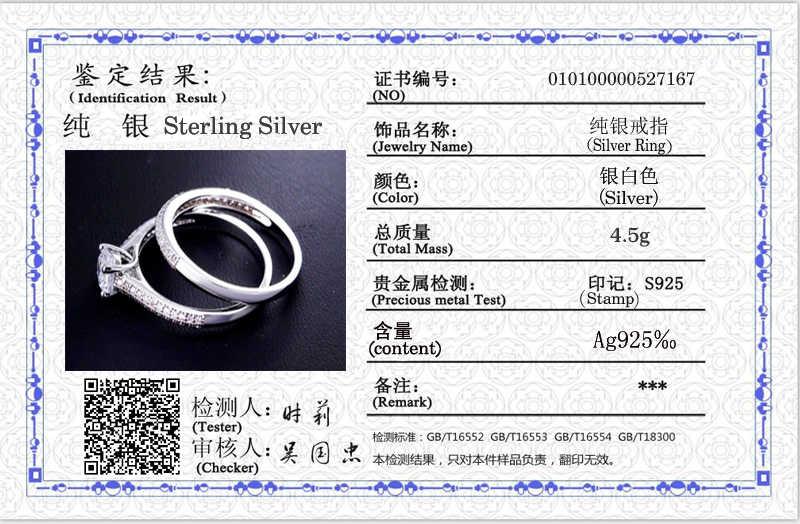 Отправлено серебряное удостоверение! Оригинальный твердый 925 Серебряный свадебный набор колец для женщин кубический циркон кольца набор Шарм ювелирные украшения KPR131