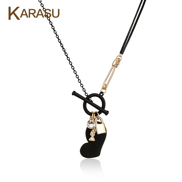 Black Love Heart Gold Plated with Toggle Clasp Pendant Double Box Link Chain Long Necklace for Women Jewelry Gifts