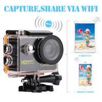 Cewaal 2 Wifi Action Camera Full HD 1080P Waterproof Sports Video Recorder Swimming Cam Wide Angle Camcorder Helmet Seat Holder