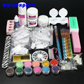 Professional Nail Art Set Kit Acrylic Powder Liquid Glitter Glue Toes separators Brush Tweezer Primer Tips Decorations Set  Kit