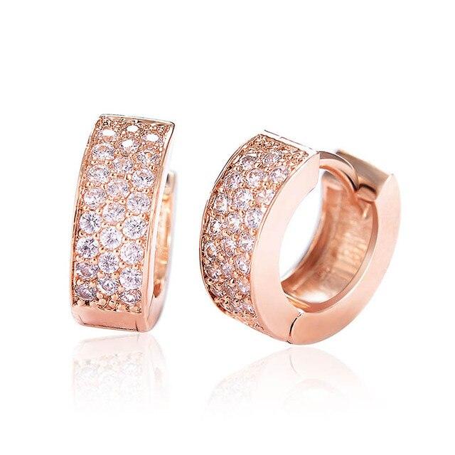 Brand Jewelry Simple Round Design High Quality Rhinestone Hoop Earrings  Rose Gold  Silver Plated Women Wedding Earrings b2c8e26250b0
