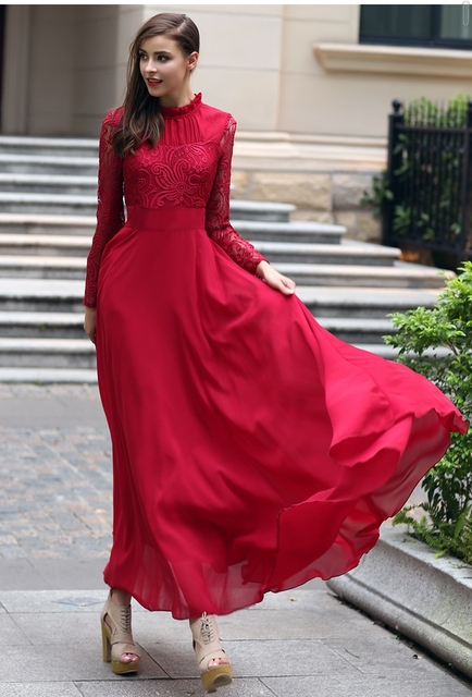 Elegant 2019 Autumn Summer Womens Stand Collar Ruffle Lace Red Chiffon Maxi Floor Length Elegant Red Gown Evening Party Dresses