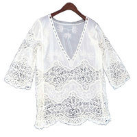 Autumn Winter Hollow Dust-robe Lace Seven Sleeve Haut Col V Collar Off The Shoulder Tops For Women T Shirt Women Tops