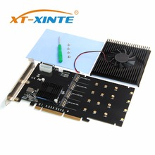 XT-XINTE 215*125mm PCI-E Adapter Card LM313 PCI-E 8X/16X TO 4P M.2 (PCIe protocol) NVME Riser Card for 2242 2260 2280 22110 SSD