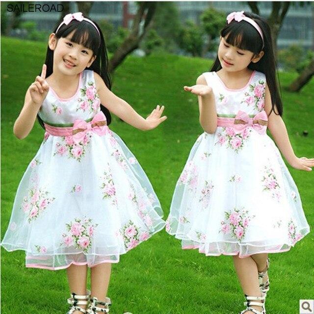 0e464c35988fc Saileroad صيف أطفال فساتين الشيفون الدانتيل القوس زهرة الزفاف بنات الأميرة  فساتين الاطفال ملابس الطفل بنات