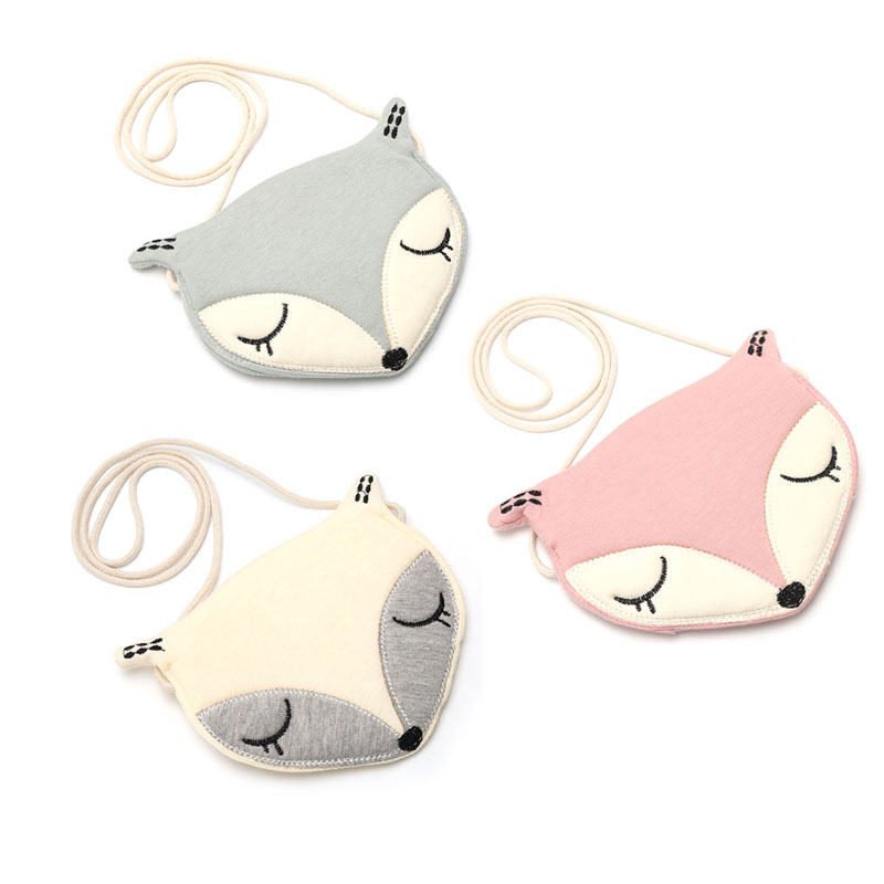 New Adorable Fox One Shoulder Diagonal Messenger Bag Coin Purse For Girl And Student Gift for Kids