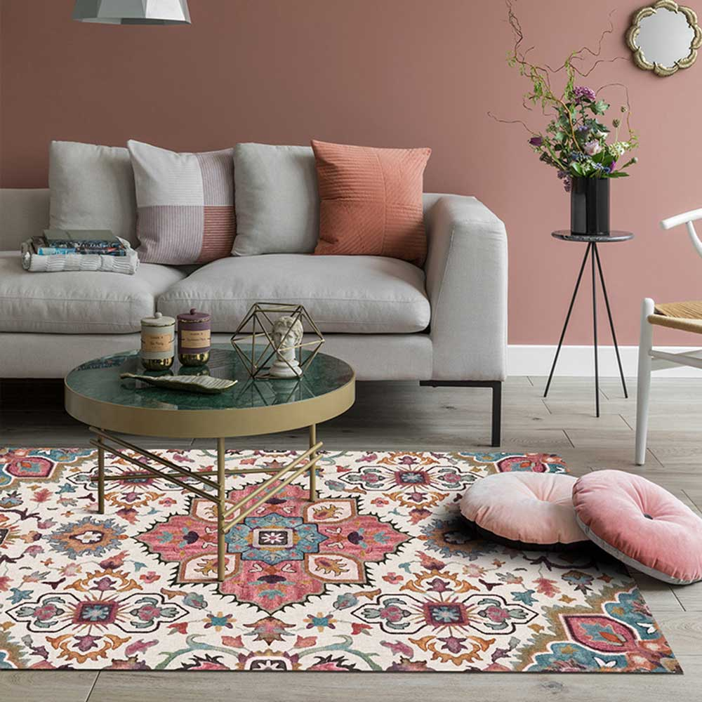 EHOMEBUY American Style Square Carpet Anti Slip Printed Foral Pattern For Living Room/Bedroom Floor European Classical