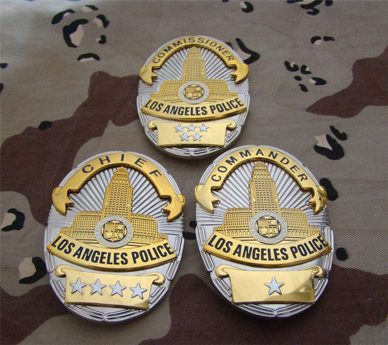 United States LA Los Angeles Police Officer Badges Copper LAPD Commander Shirt Lapel Badge Brooch Pin Badge 1:1 Gift Cosplay