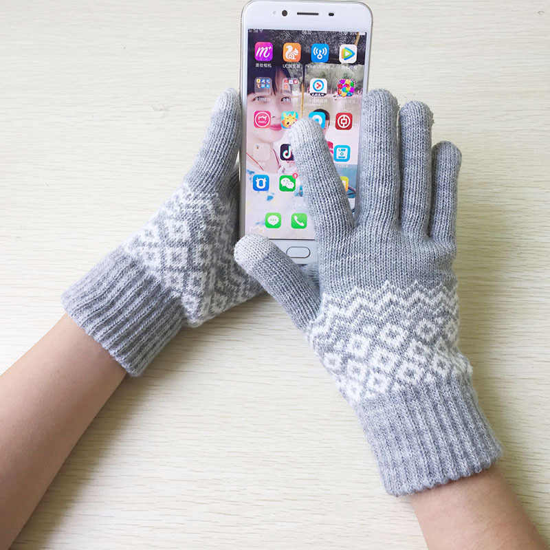 New autumn and winter knitting points finger touch screen gloves unisex jacquard wool plus velvet to keep warm against the cold