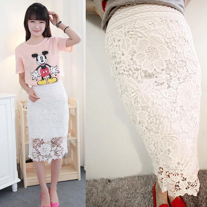 Кружевные юбки белого цвета