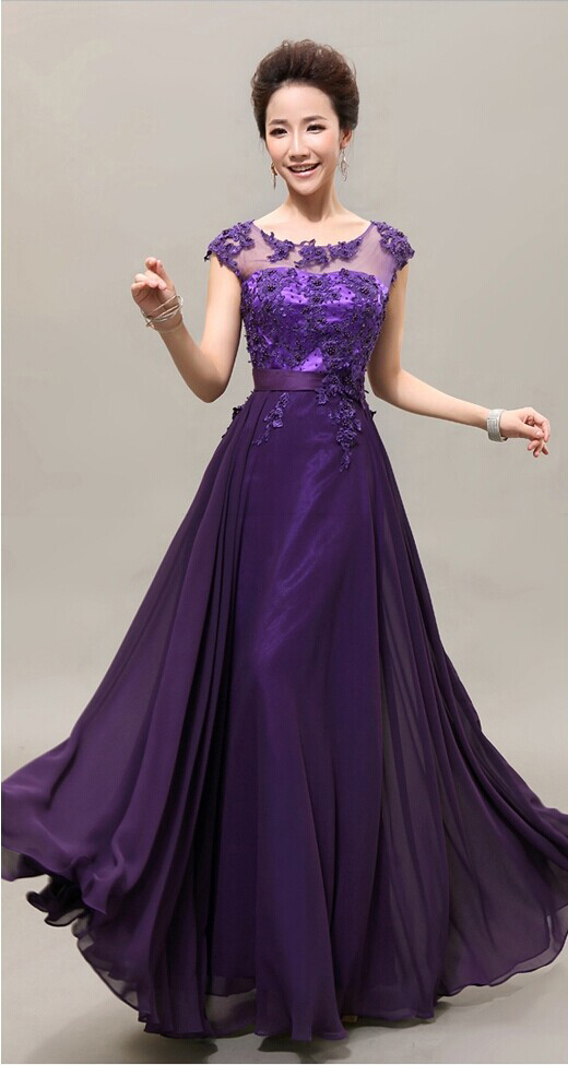 A-Line Floor-Length Scoop Neck Short Sleeve Cap Chiffon Lace Dress