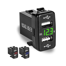 NEW For Toyota DC 5V-24V 2 USB Port Car Charger Dual USB Car Socket Power Adapter with LED Digital Voltmeter Meter Display недорого