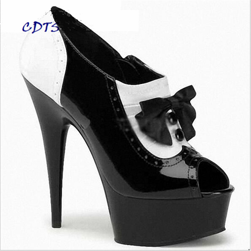 CDTS Plus:35-45 46 2016 spring/autumn Peep Toe 15cm thin heels platform sexy Bowtie shoes women wedding Color matching pumps cdts 35 45 46 summer zapatos mujer peep toe sequined sandals 15cm thin high heel crystal platform sexy woman shoes wedding pumps
