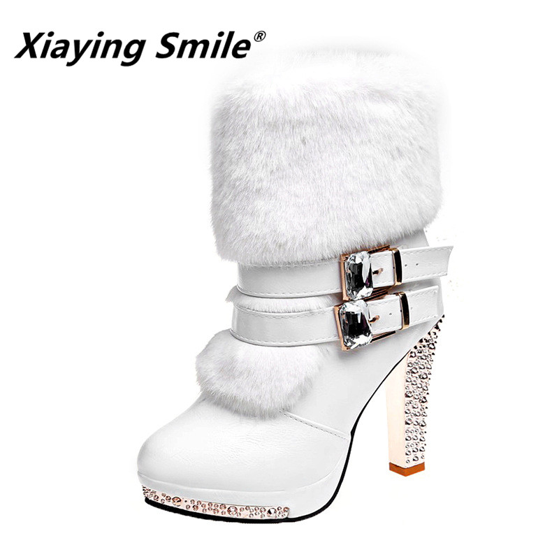 Xiaying Smile Women High end Boots Super High Fashion Warm Double Buckle Faux Fur Crystal Casual