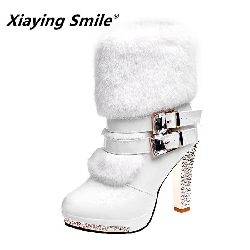 Xiaying Sorriso Mulheres High end Botas Super Alta Moda Quente Dupla Fivela Faux Fur Cristal Sapatos Casuais Saltos Finos Senhoras botas
