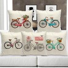 Ogiselstyle велосипедная наволочка с цветами наволочка винтажный Байк велосипед в стиле ретро декоративная наволочка для дивана 18 «X 18»