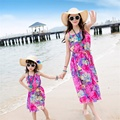 2016 Bohemian Dresses Chiffon Sleeveless Summer Ventilation Comfortable Smooth Exquisite Patchwork  Family Matching Outfits