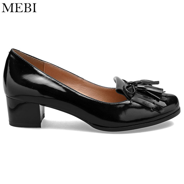 70dcb35a7c58 MEBI Women Pumps Genuine Patent Leather Female Casual Shoes Ladies Mom  Granny Shoes Extra Wide High Heels Plus Big Size 13