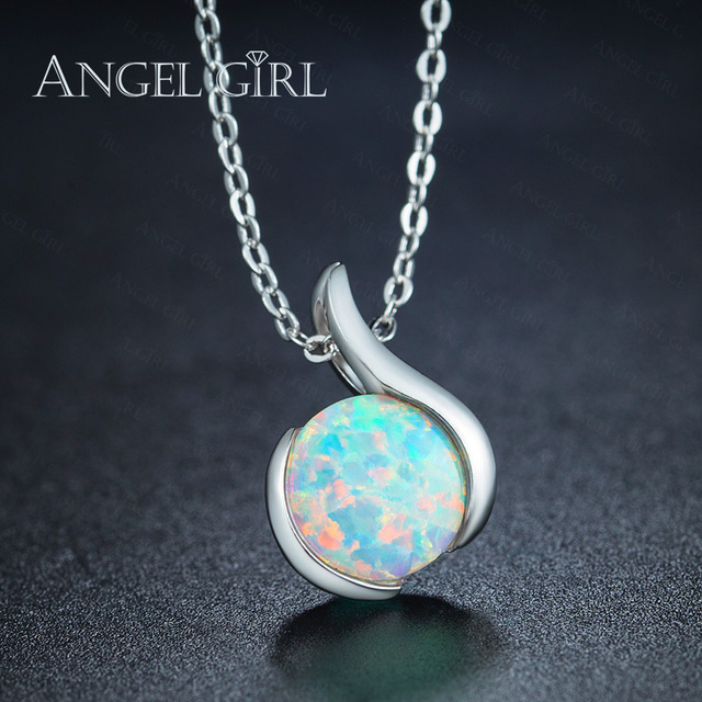 Angel girl wholesale jewelry accessories white gold color slide angel girl wholesale jewelry accessories white gold color slide pendant necklace with white opal pendant for aloadofball Image collections