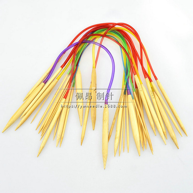 Colourful Circular Bamboo Knitting Needles Set By Sundry Goods Bamboo Wood Flexible 18 Sizes: 2.0mm To 10mm,16 Inch/40cm Length