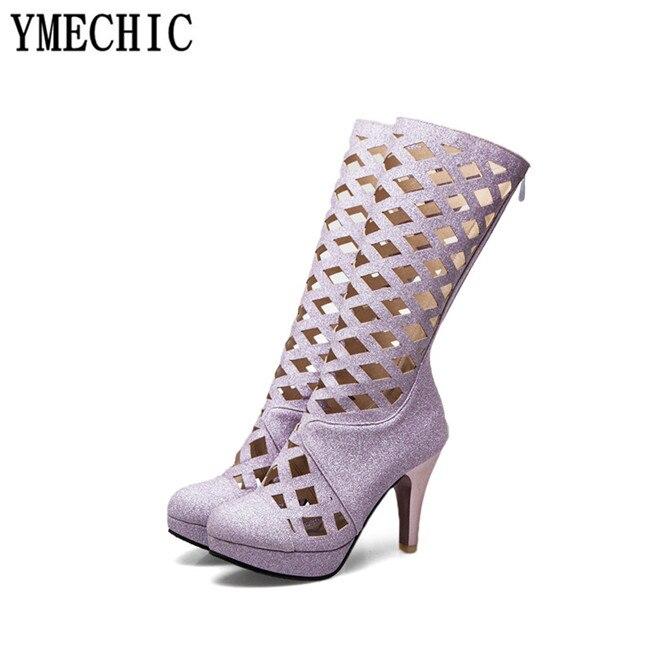 Talons Chaussures Haute Ymechic Argent 2018 argent forme Genou D'été Noir Sandale Boot Plate Gladiateur Noir or Creux Or Violet pourpre Rome Femmes XSvzwSxgq