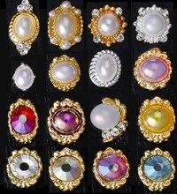 10pcs alloy pearl rhinestone nail art charms 4-10mm rhinestones crystal Japanese trend metal new charm art#JE82-97
