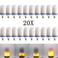 20X Новинка 2017 года E27 E26 2835SMD светодио дный лампа эффект пламени огня лампочки 10 Вт мерцающего пламени эмуляции огни 1900 К 2200 К AC85 265V