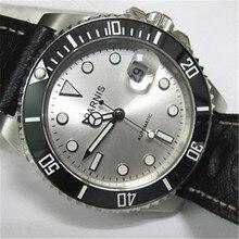 40mm Parnis Esfera Blanca de Plata Bisel De Cerámica Negro Japón Movimiento Automático Reloj