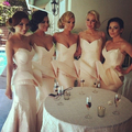 Longitud elegante Del Piso de La Sirena Cariño Champagne Tafetán Largo vestido de Dama 2014 Size4 6 8 10 12 14 16 18 20 + + Custom B09