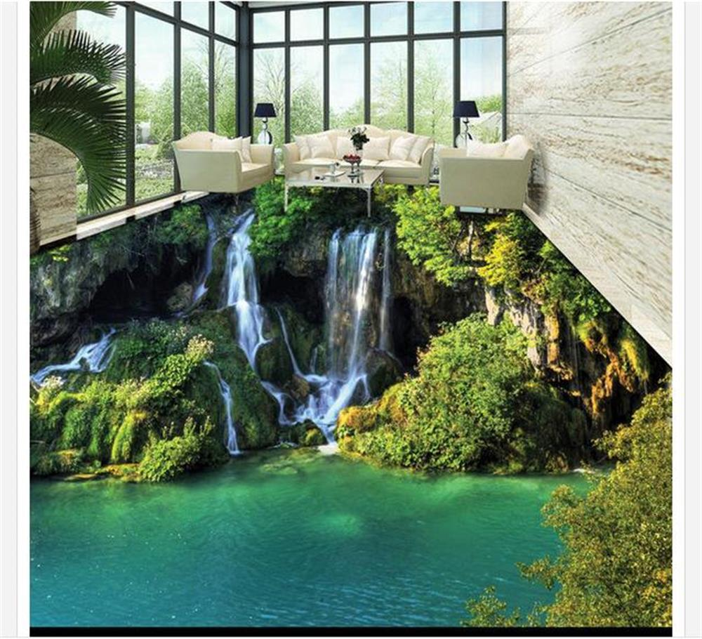 ФОТО Custom 3D PVC wallpaper photo wallpaper Only beautiful romantic green mountain stream waterfall floor painting floor wallpaper