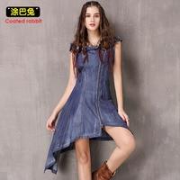 CR Summer Denim Dress Women 2018 Off the Shoulder Sexy Jeans Dress Female Slim Fashion Zipper Split Party Dresses