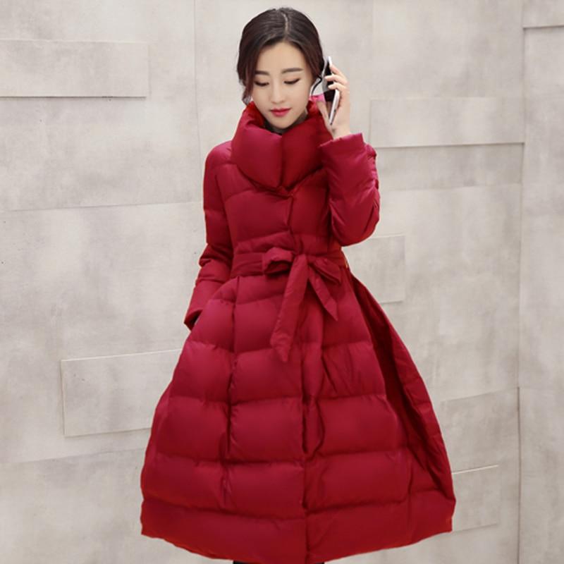 Épaisses pourpre Solide Femmes Écharpes Veste Jupe Qian Long Vestes Longue gris Noir D'hiver Manteaux 2018 Si Arc Ceinture Chen Femme Parka rouge Hiver wxfPpq