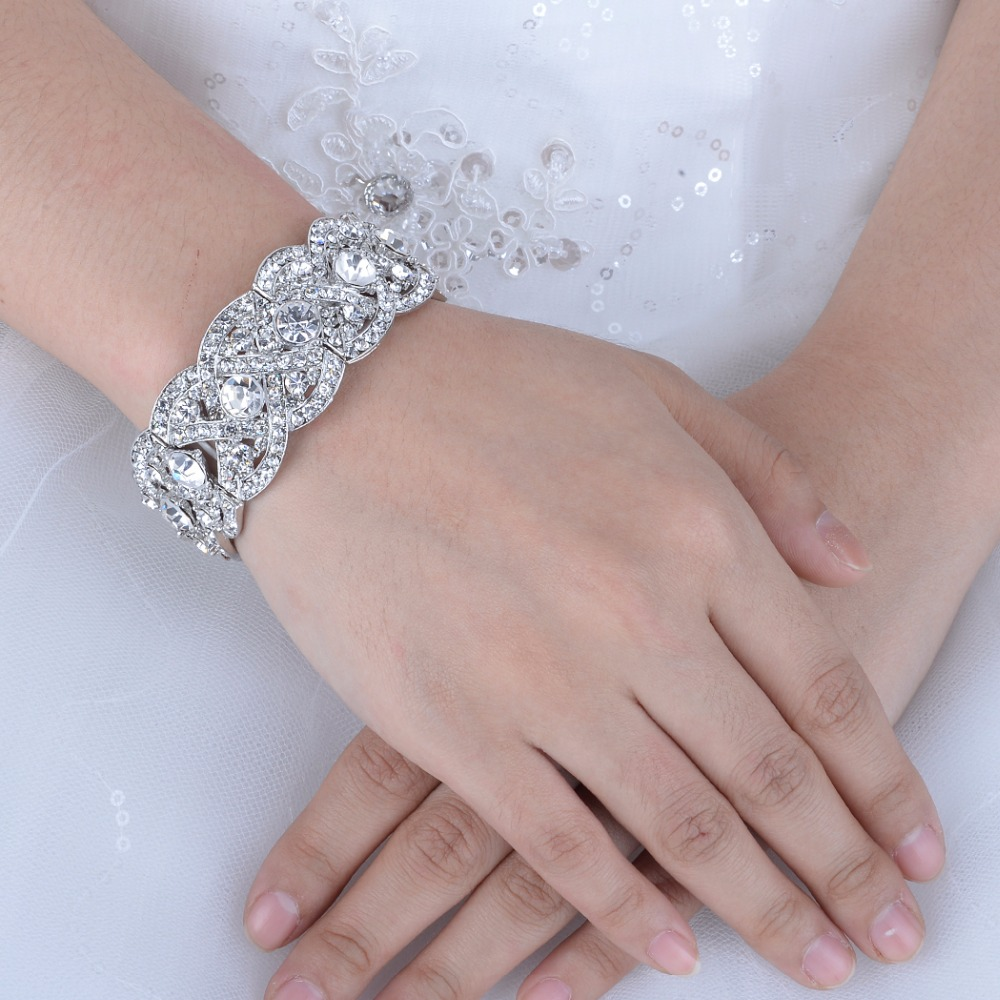 Bella Fashion Art Deco Bridal Bracelet Bangle Clear Austrian Crystal ...