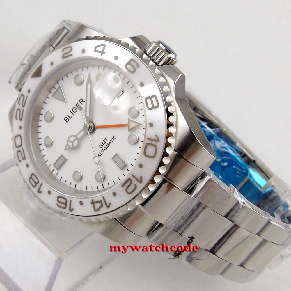 40mm bliger white dial orange GMT date window sapphire glass automatic movement mens watch цена и фото
