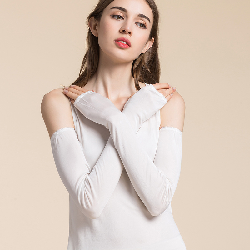 In The Summer The New High-grade Silk Knit Uv Sunscreen Long Sleeve Female Armguards Silk Gloves Extended Shade
