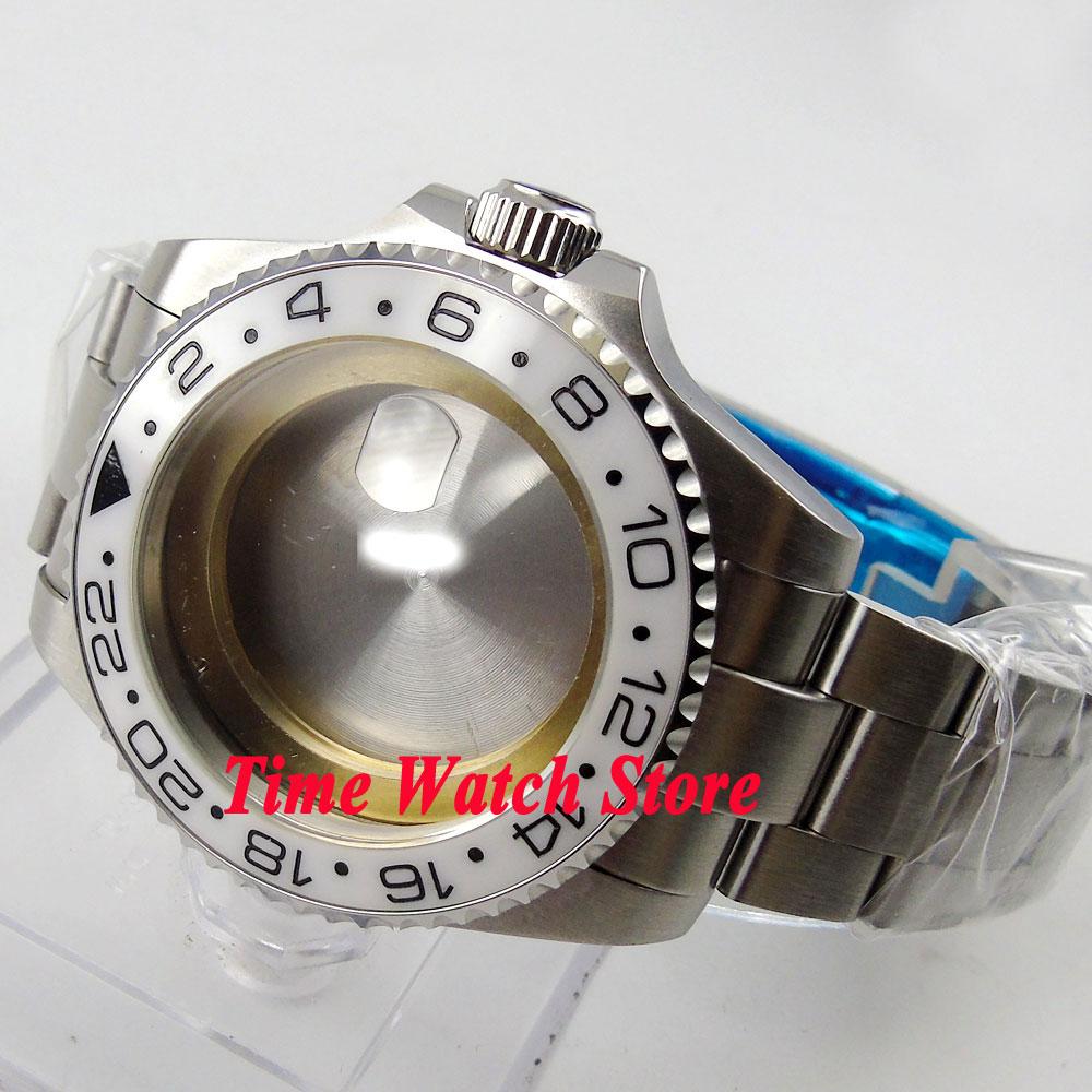 43mm white ceramic bezel Sapphire glass Watch Case with bracelet fit ETA 2824 2836 movement 66 цена и фото