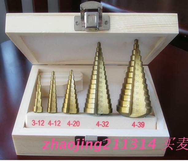 5pcs HSS Steel Step Drill Bit Titanium Coated Hole Cut Tool Set Free Shipping Top Quality jelbo cone step drill hole tools countersink 3pc drill bit set power tools step drill bit for metal power tools set hole cutter