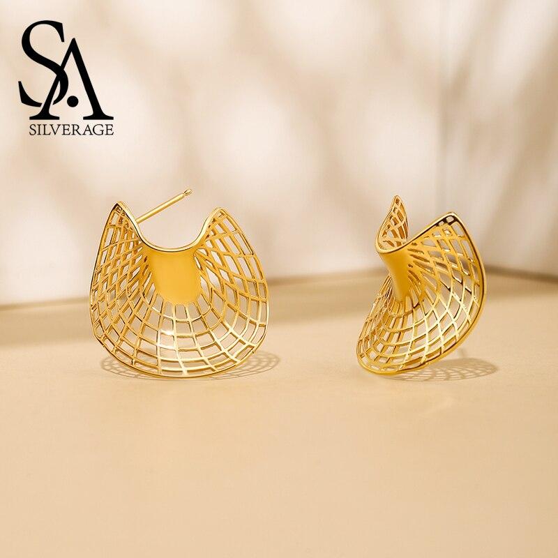 SA SILVERAGE 925 Sterling Silber 14 K Gelb Gold Überzogene Stud Ohrringe für Frauen Sector Ohrringe Mode Schmuck Geschenk Für frau