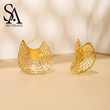 SA SILVERAGE 925 Sterling Silver 14K Yellow Gold Plated Stud Earrings for Women Sector Fashion Jewelry Gift For Woman