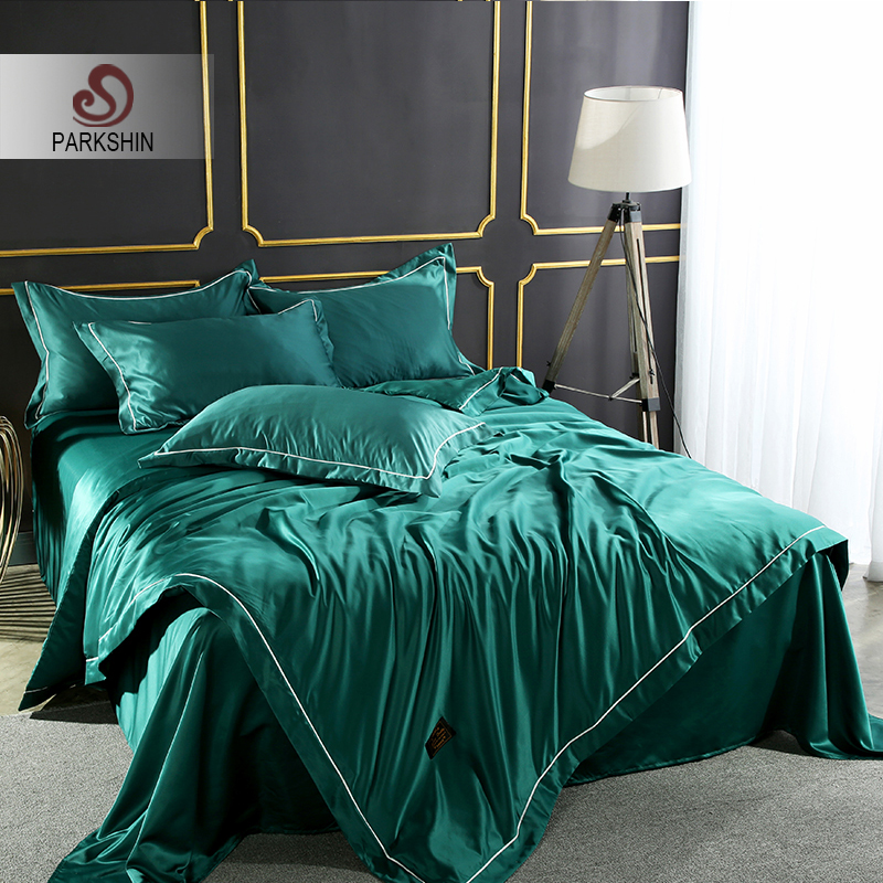 ParkShin Luxury Dark Green Color Bedding Set 100% Silk Home Textiles Soft Comfort Duvet Cover Silky Bed Set With Flat Sheet 4pcs