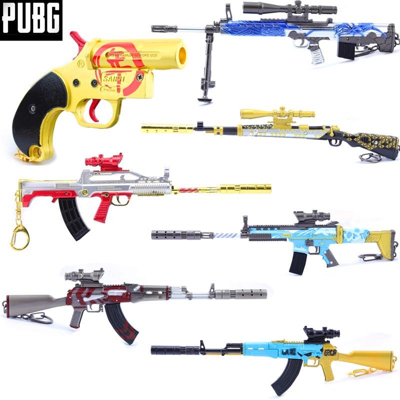 Jeu nouveau playerinconnu champs de bataille PUBG Cosplay accessoires 9 Style 98 K AWM AKM pistolet métal pendentif porte-clés jouet 6 pièces/ensemble en gros