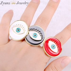 Image 2 - 10PCS, NEW Mix Enamel Eye Ring, Gems Rings, Women Jewelry Ring, Blue / Black/Red Enamel Ring, Adjustable