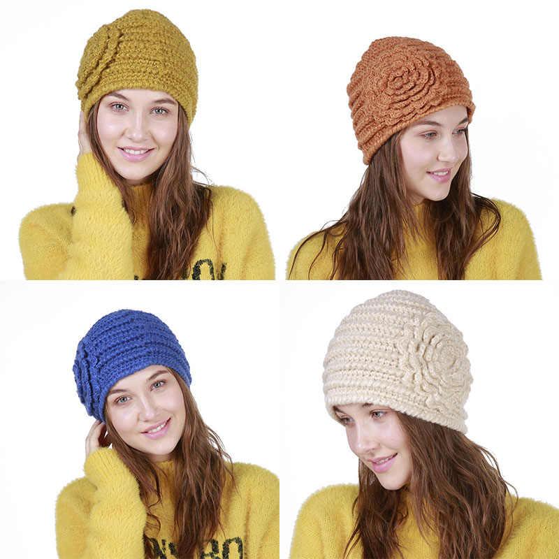 a31ad169ef8 Liva Girl Winter Hats For Women Flower Pattern Hat 2018 Fashion Crochet  Knit Beanie Caps Warm