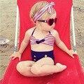 Lindas de los Bebés de Rayas Marinero Bikini Set Niños Niños Traje de Baño de Alta Cintura del traje de Baño Con La Venda