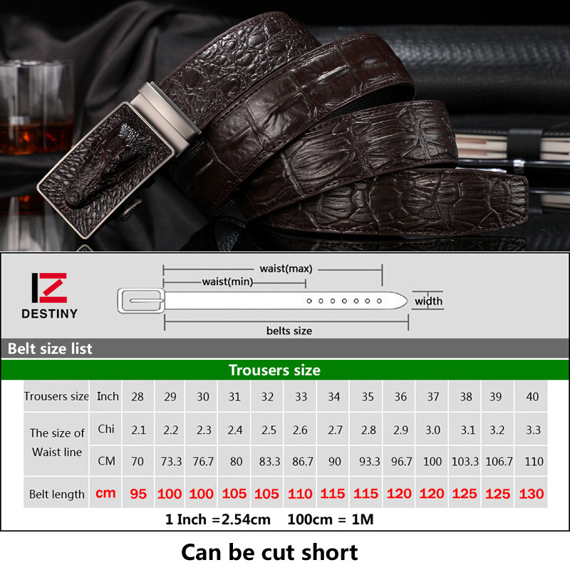 DESTINY Crocodile Belt Designer Belts Men High Quality Male Genuine Leather Strap Man Luxury Famous Brand Automatic Cowather New in Men 39 s Belts from Apparel Accessories
