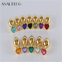 ANAL PLUG Gold Color Anal Plug Stainless Steel Heart Shape Sex Toys For Women Men Gay Butt Ass S M Drop Shipping