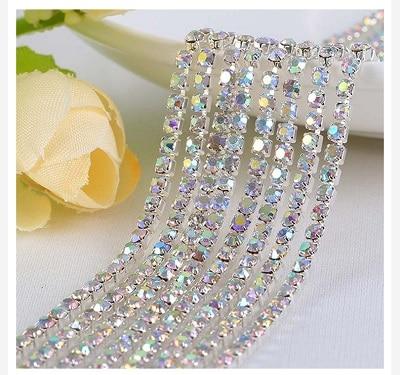 1 ярд/шт, 30 цветов, стеклянные хрустальные стразы на цепочке, Серебряное дно, Пришивные цепочки для рукоделия, украшения сумок для одежды - Цвет: Crystal AB