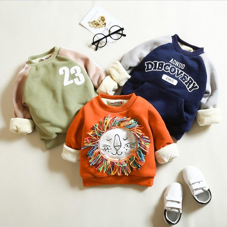 Anlencool 2018 winter new Korean children baby boy girl children sweater cashmere cotton sweater coat plus children Lion shape