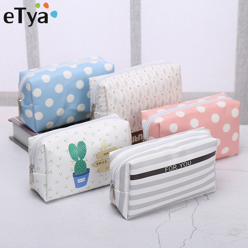ETya Travel PU Leather Cosmetic Bag Korean Small Organizer Women Makeup Bag Make Up Case Toiletry Bags Beauty Storage Wash Bag